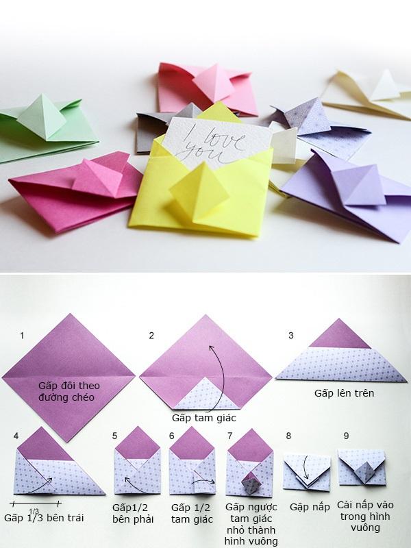 Cách gấp origami đơn giản hình phong thư