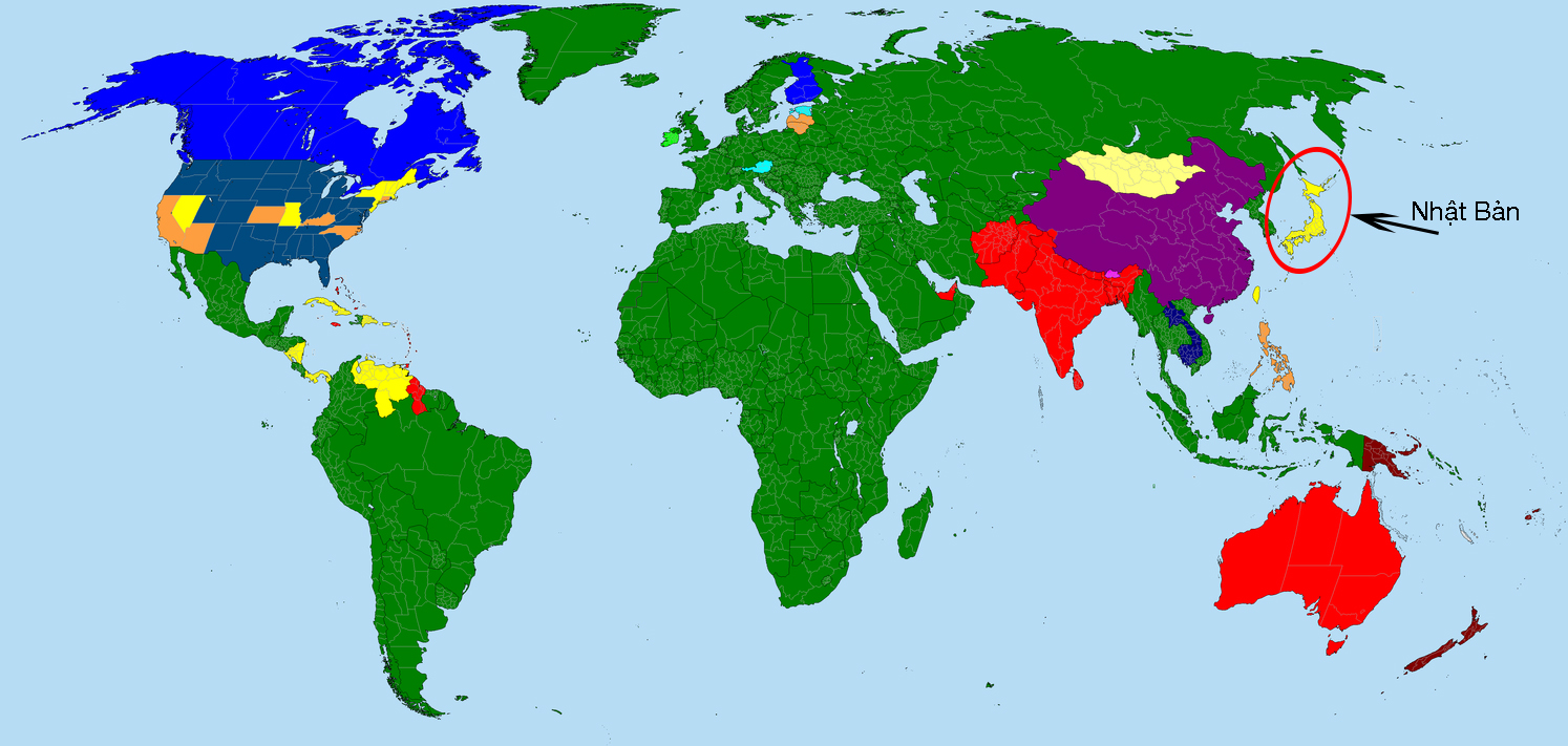 Vị trí Nhật Bản trên bản đồ thế giới